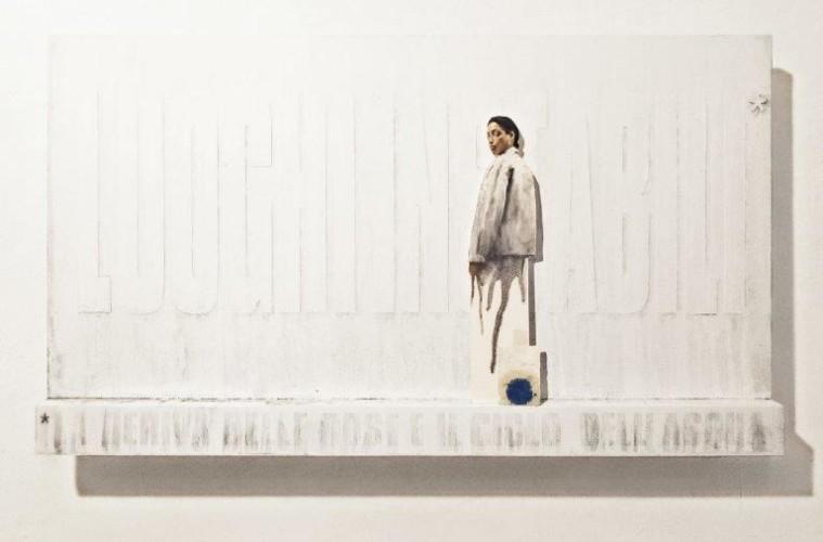Matteo Tenardi, studio ed ipotesi d'installazione #3 per Luoghi Instabili* *la deriva delle cose e il ciclo dell'acqua, tempera su tavola e olio su carta sagomata, 57x100 cm, 2017