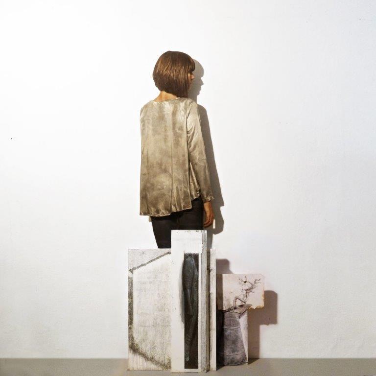 Matteo Tenardi, Luoghi Instabili* *la deriva delle cose e il ciclo dell'acqua, olio su tavola sagomata + tempera e grafite su tela e su tavola, 186x81cm 2014/2017