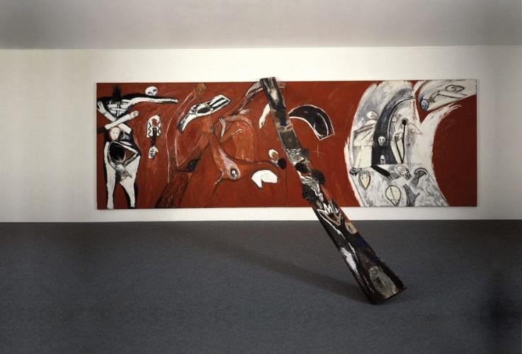 Mimmo Paladino, Ara, 1982, tecnica mista e olio su tela e legno, dimensioni ambiente (la tela 200 x 600 cm), Collezione privata, Svizzera Foto per gentile concessione Galerie Buchmann, Agra-Lugano
