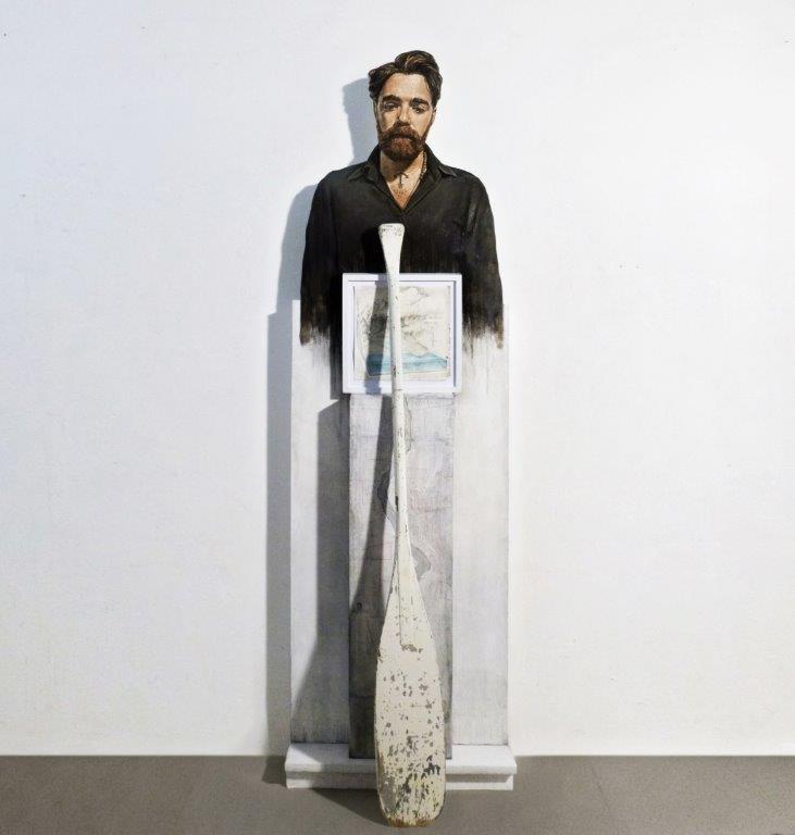 Matteo Tenardi, Luoghi Instabili* *la deriva delle cose e il ciclo dell'acqua, olio su tavola sagomata + grafite su carta e su tavola + remo, 200x60cm, 2017