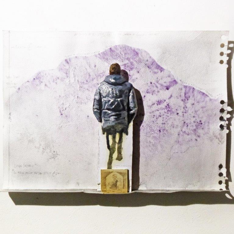 Matteo Tenardi, studio e d ipotesi d'installazione per Luoghi Instabili* *la deriva delle cose e il ciclo dell'acqua, penna e olio su carta sagomata, 50X50 cm, 2017