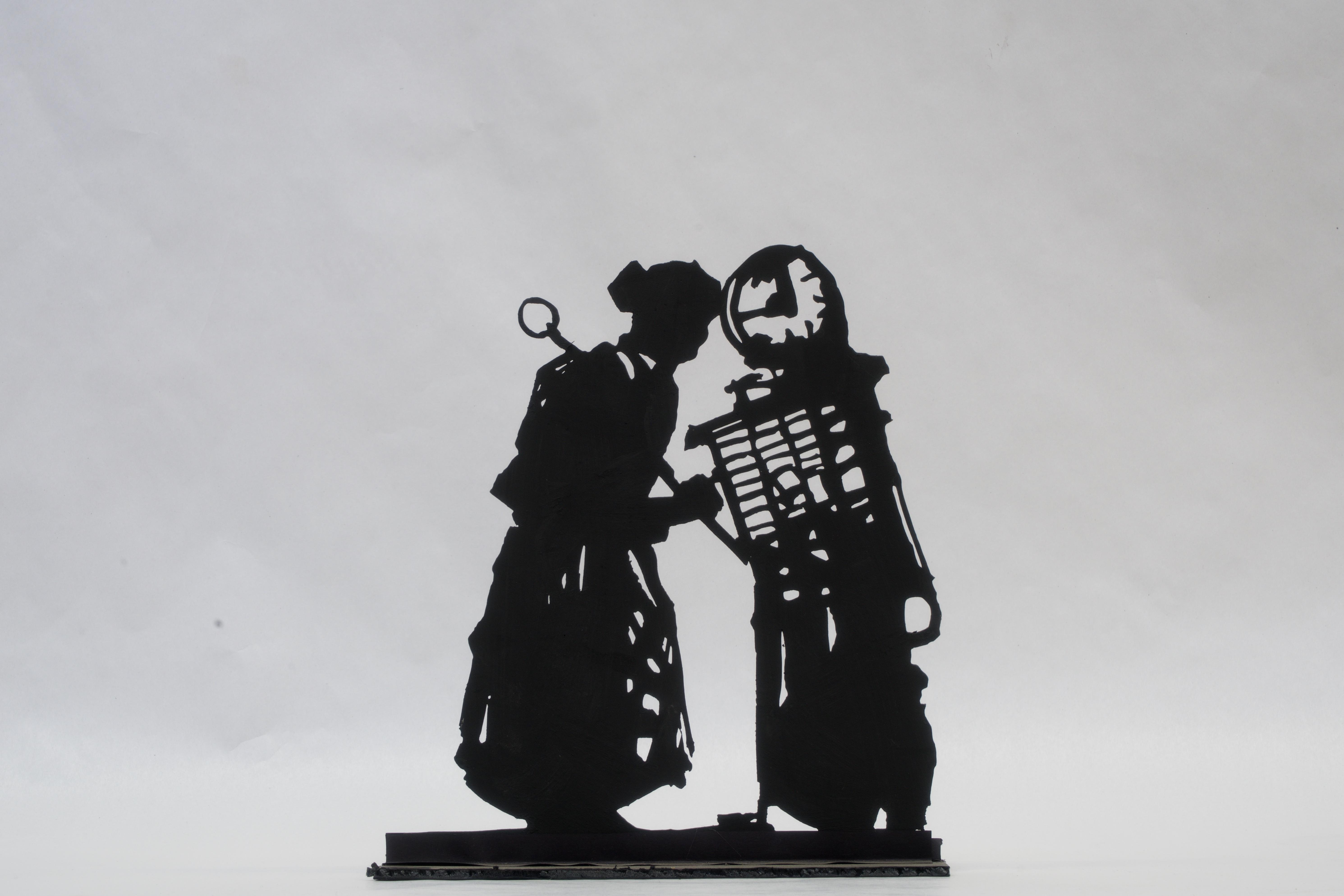 WILLIAM KENTRIDGE, Procession of Reparationists (Processione. I riparazionisti), 2017 15 silhouette in acciaio, 13 basi in cemento e ferro, 410 x 350 x 41200 cm circa dimensioni totali, Fondazione per l'Arte Moderna e Contemporanea CRT, 2017, in comodato presso Castello di Rivoli Museo d'Arte Contemporanea, Rivoli-Torino