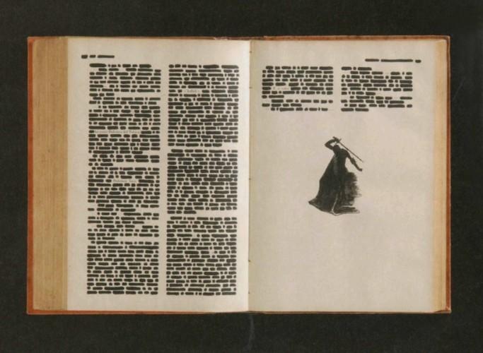Emilio Isgrò, Dulcinea, 1967, china su libro tipografico in box