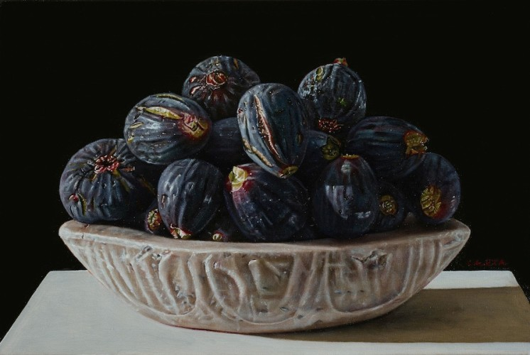 Giuseppe Carta, I fichi neri, olio su tela, 20x30 cm