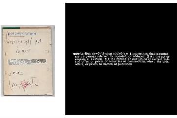 Joseph Kosuth, Titled (A.A.I.A.I.), [quotation], 1967, stampa fotografica su pellicola, montata su pannello, 122x122x10 cm Courtesy [dip] contemporary art, Lugano