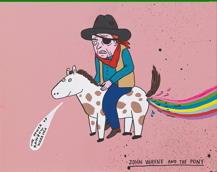 Laurina Paperina, John Wayne and the pony, 2017, smalti all'acqua markers e spray su legno, 20x25 cm