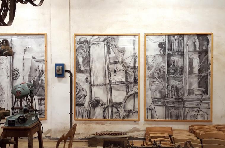 """""""L'inizio di una sedia"""", Lorenzo D'Anteo, veduta installazione, Museo della Sedia Leggera, Chiavari"""