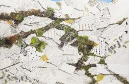 TullioPericoli, 2016, olio inchiostro e collage su tela, cm 845x100