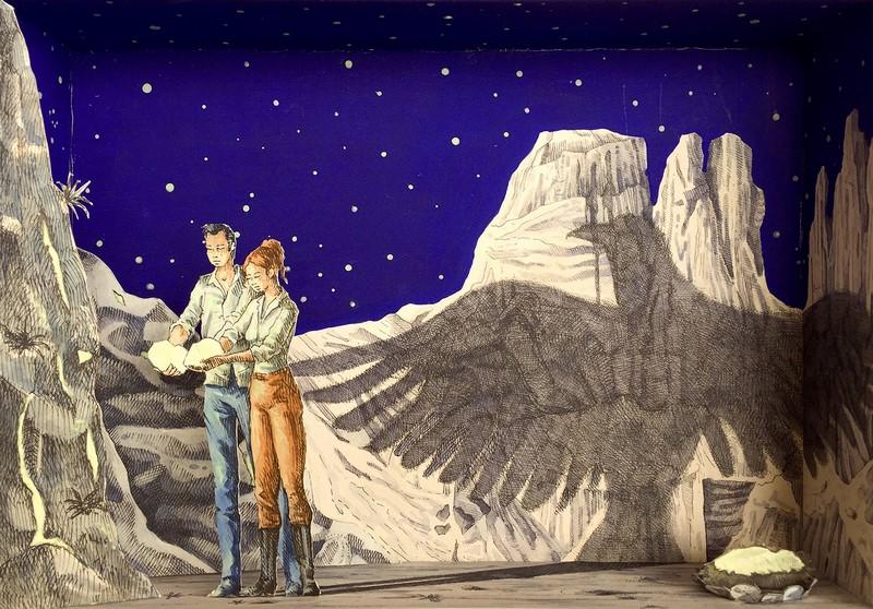 Vanni Cuoghi, Monolocale 66, 2017, Fluoro nel deserto, acrilico e acquerello su carta, cm 35x50