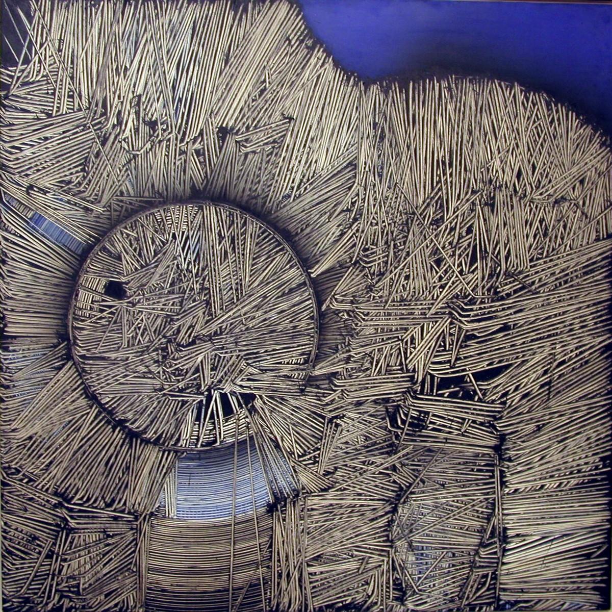 Emilio Scanavino, Tramatura sull'azzurro, olio su legno, 1970