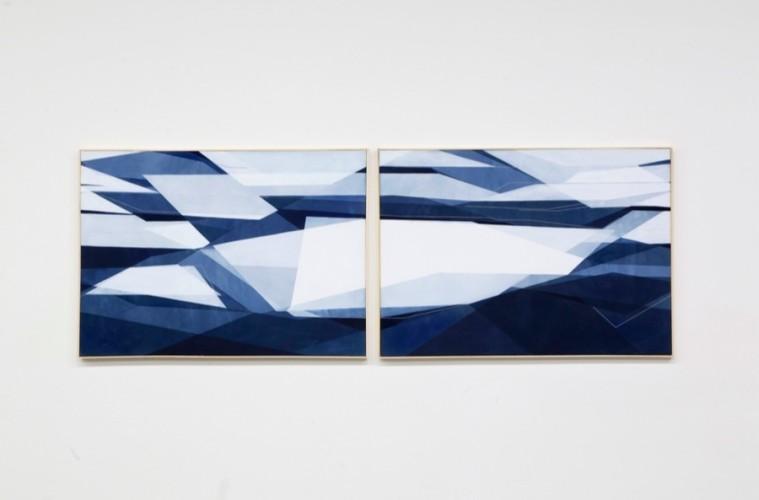 Adua Martina Rosarno, Senza titolo, 2017, acrilico acquerellato e tessiture su tela, 90x65 cm e Senza titolo, 2017, acrilico acquerellato e tessiture su tela, 90x65 cm