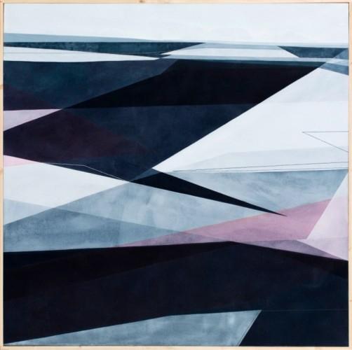 Adua Martina Rosarno, Timide contaminazioni, 2017, acrilico acquerellato e tessiture su tela, 100x100 cm