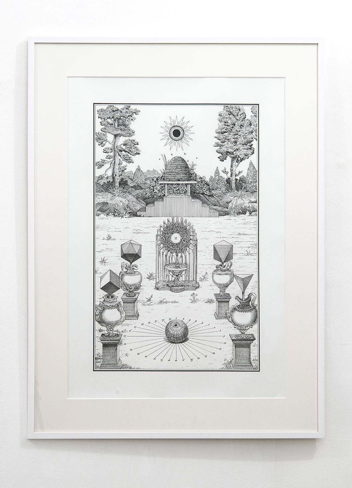 Jakub Woynarowski Apiaria I, 2017, disegno inchiostro su carta, cm 100 x 70 (con cornice cm 123 x 93), Ed. unica. Courtesy z2o Sara Zanin Gallery, Roma. Ph. Giorgio Benni
