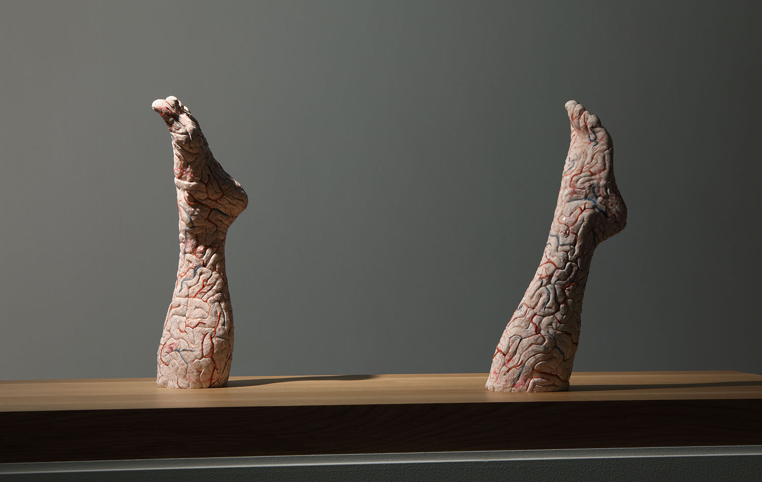 Jan Fabre, Brain Legs, 2010, silicon, paint 52 x 16 x 14 cm (been links); 49,5 x 15 x 14 cm (been rechts) Photo Attilio Maranzano © Angelos bvba