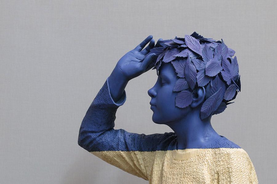 Willy Verginer, Ciuria de foies, 2016, lindenwood, acrylic color, 140 cm