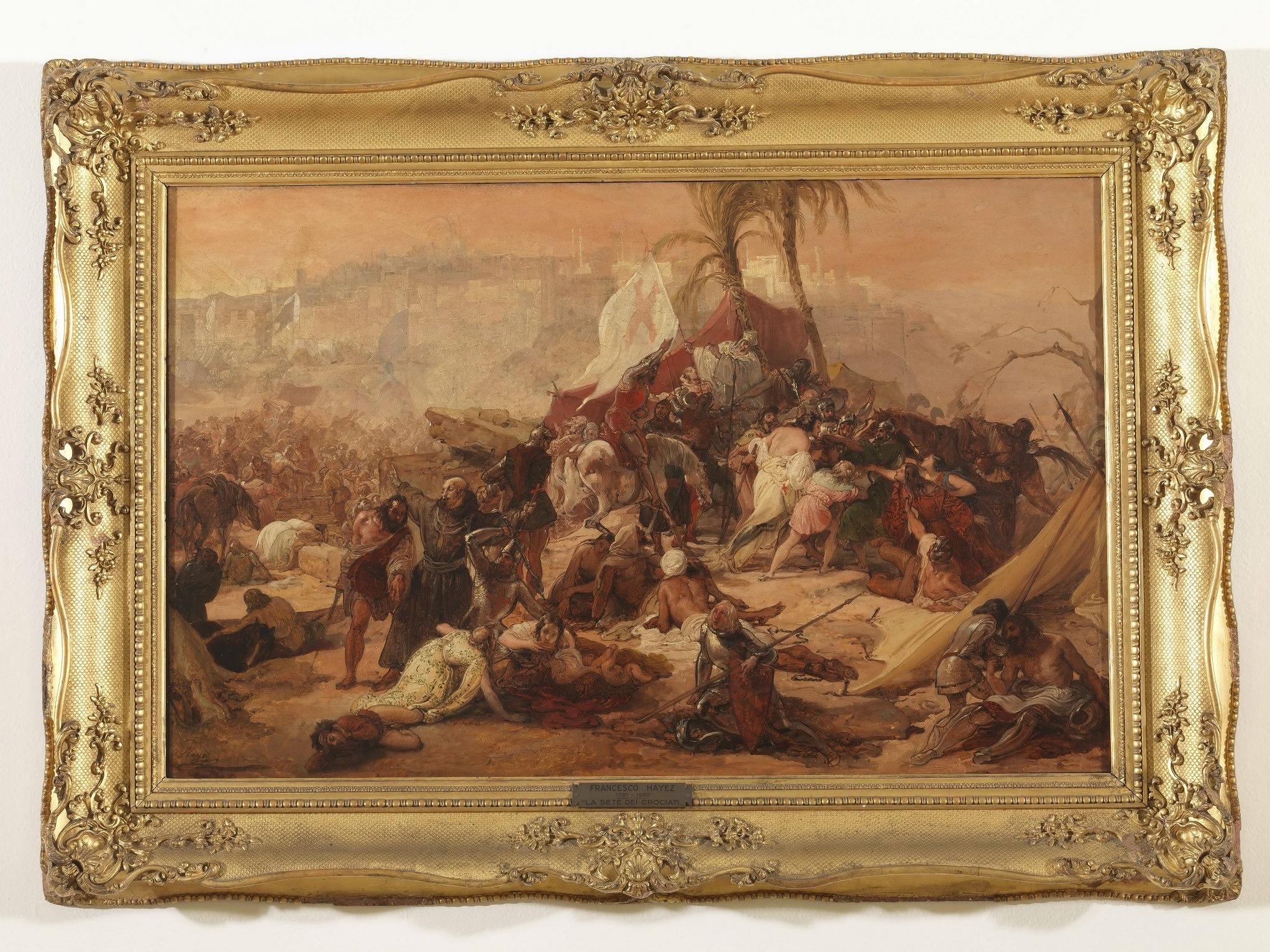 Francesco Hayez, La sete dei Crociati sotto Gerusalemme, olio su tela, cm 58x91, W. Apolloni, Roma