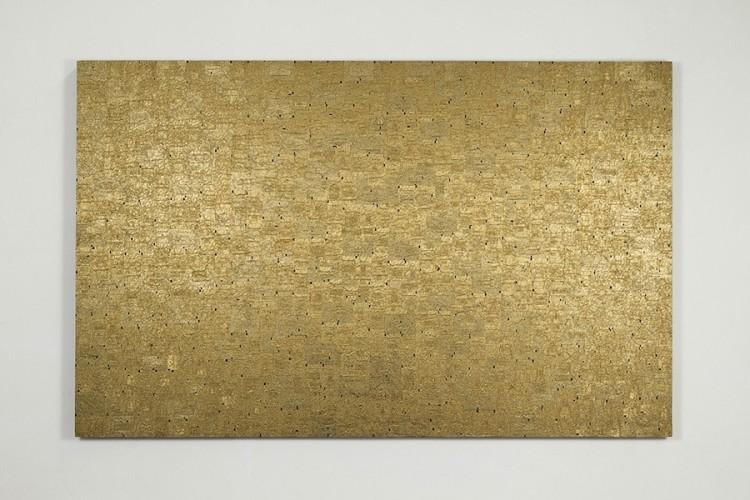 Flavio Favelli, Extra Profondo Oro, 2017, collage di carte di cioccolatini su pannello, 120x190 cm, Galleria Studio Sales, Roma