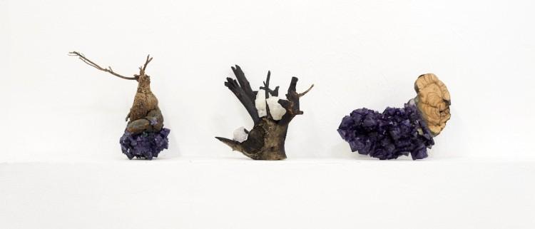 Francesca Romana Pinzari, Go Dai 03-04-05, 2017, vegetazione, rami e cristalli, varie misure Foto Andrea Veneri Courtesy Gilda Contemporary Art, Milano