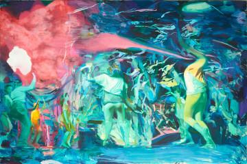 Giuseppe Gonella, Vivenze II, 2016-2017, olio su tela, cm 200x300. Courtesy Galleria Giovanni Bonelli, Milano
