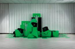 Anna Skoromnaya, Popcorn Machine, 2017, ologramma, plexiglas lucido e satinato, audio, cm 220x610x344