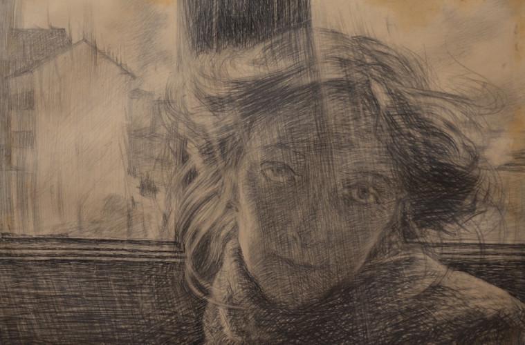 Umberto Boccioni, Controluce, 1910, matita e inchiostro su carta, cm 36x49, Galleria Russo, Roma