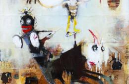 Kinki Texas, Handsome young Attila, 2015, tecnica mista su tela, 200x190 cm