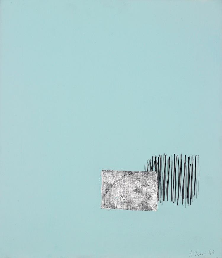 Arturo Vermi, Paesaggio, 1966, tecnica mista su tela, 46.5x40.4 cm Courtesy Fondazione Berardelli, Brescia