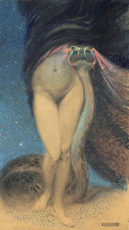Achille Calzi, Le Fleurs du Mal (Donna con serpente), 1913