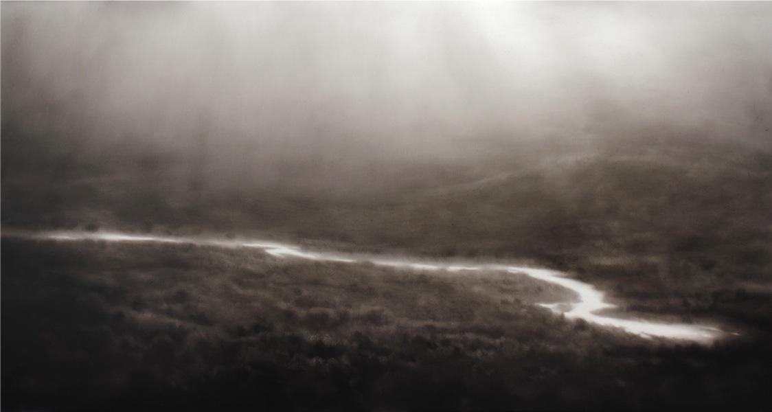 Ettore Frani, Ideogramma, 2017, olio su tavola laccata, 62x120 cm Foto Paola Feraiorni