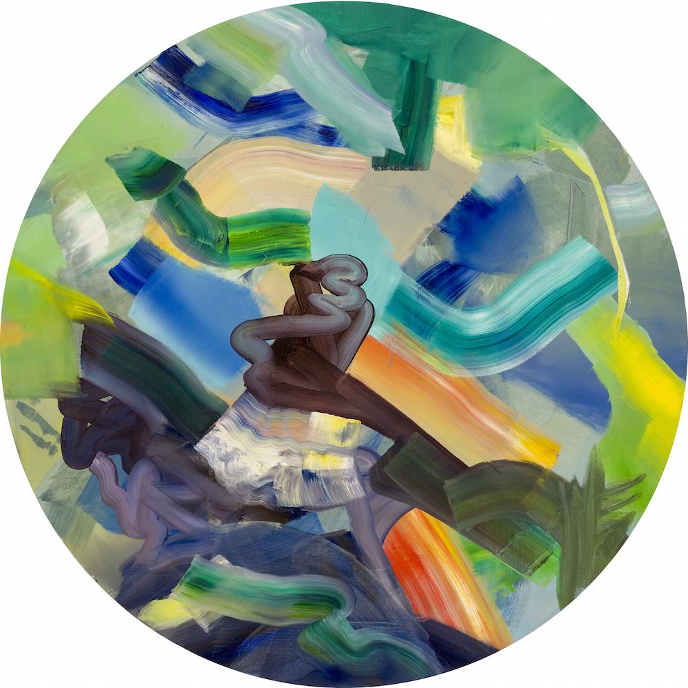Isabella Nazzarri, Movimento 19 Ordine sommerso ordine emerso, 2017, acrilico su tela, 100 cm diam