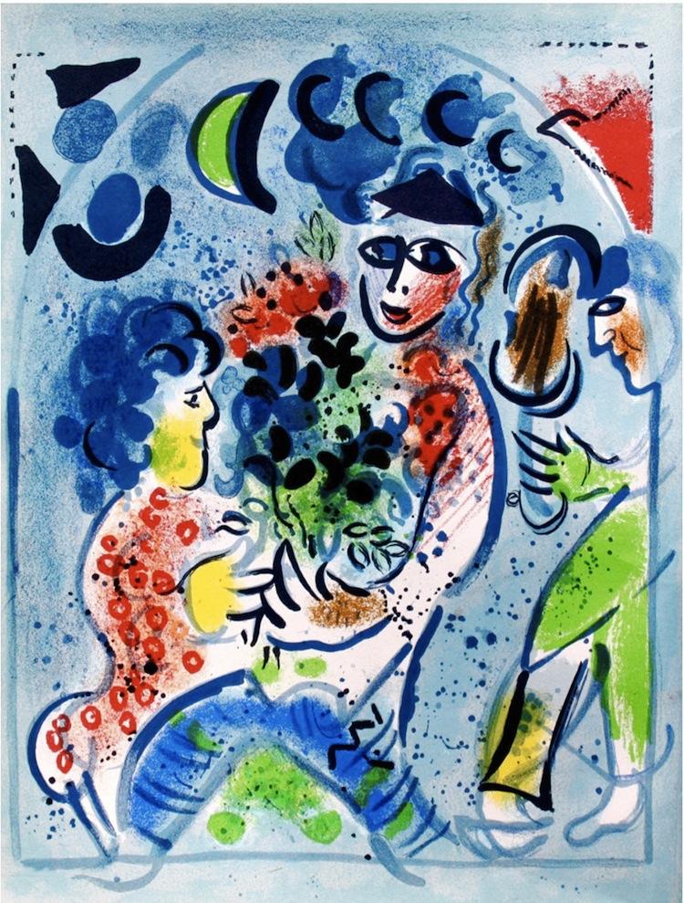 Marc Chagall, Bouquet blue, 1969, litografia, 32x24 cm Courtesy Deodato Arte, Milano