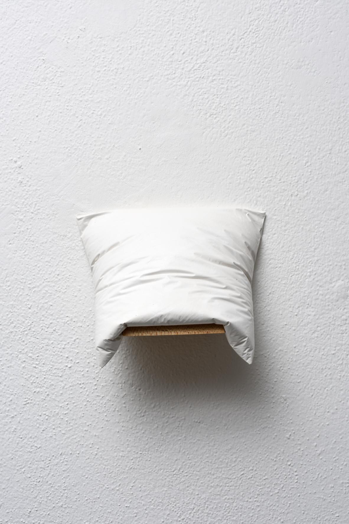 Emil Lukas, #1216 - heavy pillow, 2012, gesso e legno, 14x17x9 cm. Foto Michele Alberto Sereni. Courtesy Studio la Città - Verona