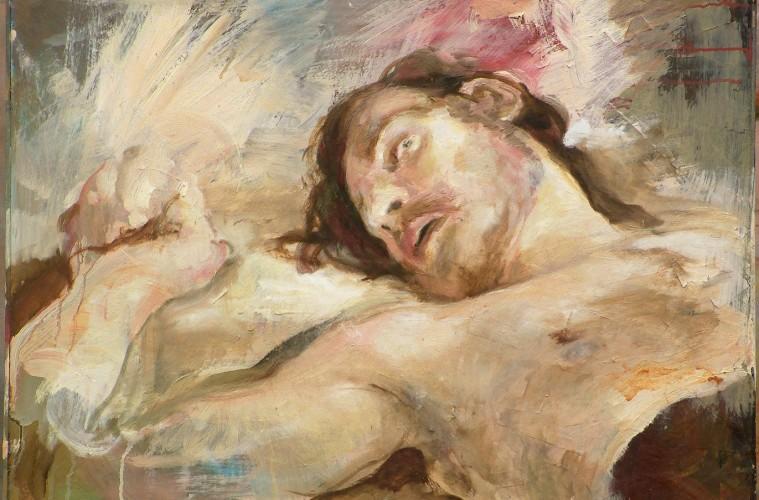 stefano-reolon-uomo-reclinato-685x-493-cm-olio-su-tavola-con-collage-di-carta-2017