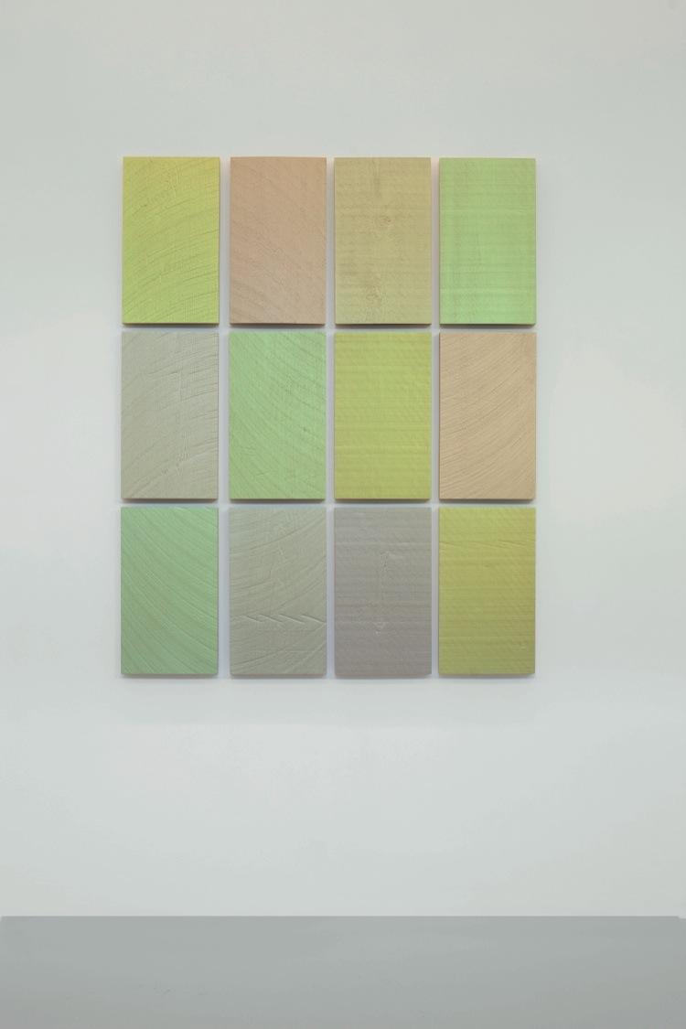 Winston Roeth, To Be With You, 2014, pigmenti Kremer e dispersione di poliuretano su pannelli di legno di pioppo, 12 pannelli, 50.8x29.2 cm ciascuno