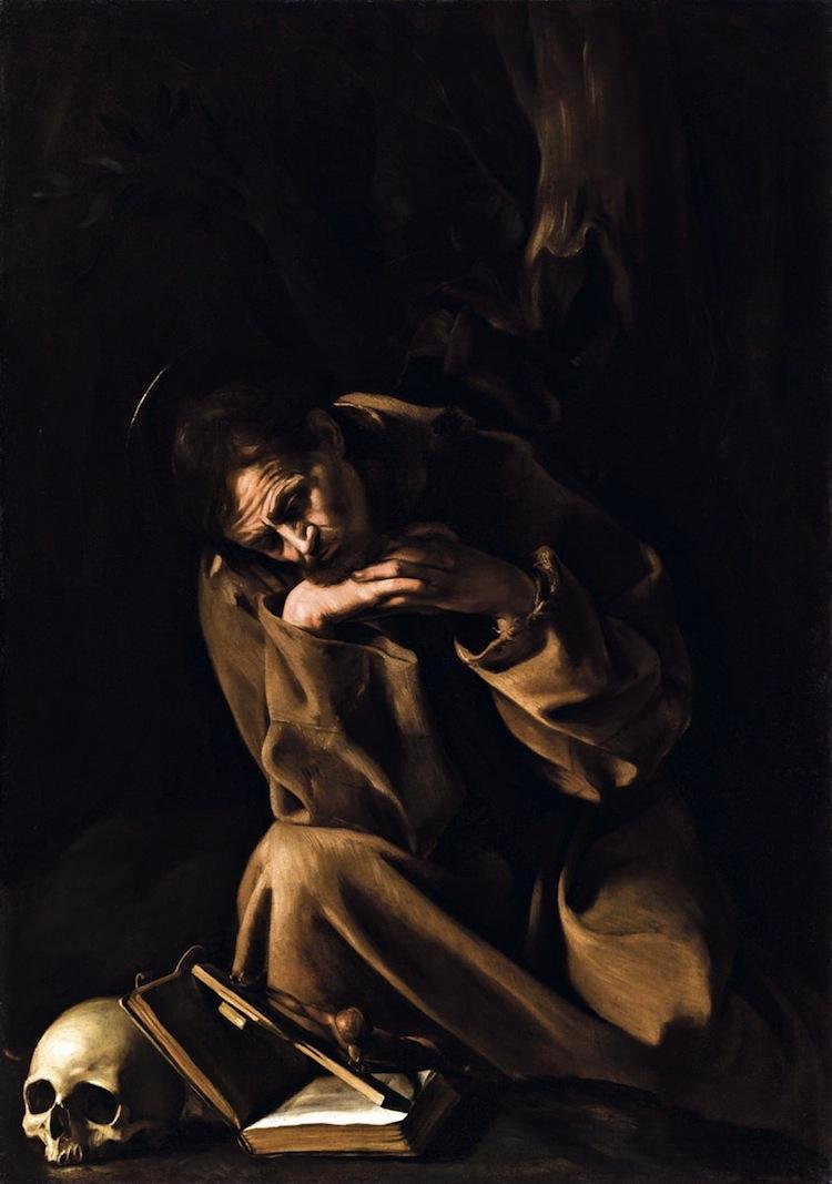 """Michelangelo Merisi da Caravaggio, San Francesco in meditazione, post 1604, olio su tela, 128x90 cm, Museo Civico, Cremona © Sistema Museale della Città di Cremona - Museo Civico """"Ala Ponzone"""" Foto Pietro Diotti, Nova Foto, Cremona"""