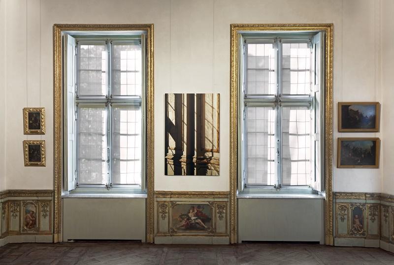 Gyproc Habito Forte 5791, 2017 stampa e pittura opalescente su cartongesso 143 x 95 x 3 cm veduta d'installazione Courtesy Gagosian Gallery Ph. Sebastiano Pellion di Persano