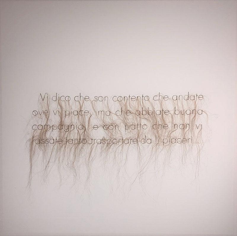 Elyse Galiano - Apolline Constance et les autres 2017 ricamo con caelli veri su tela cm. 120x120 in lingua italiana