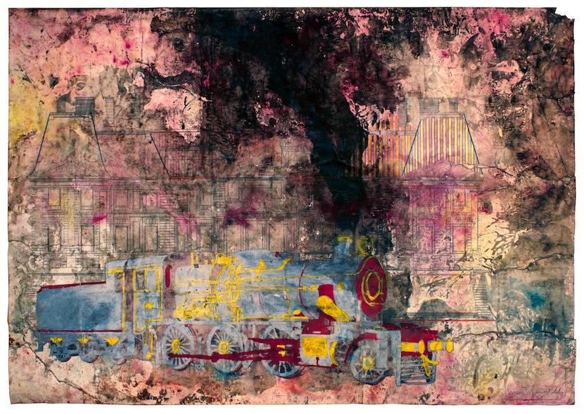 Luca Pignatelli, Treno 2384, 2013-2015, tecnica mista su carta, 69.7x99.2 cm