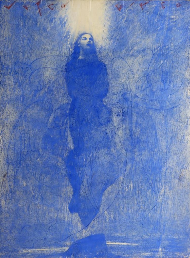 Omar Galliani, Assunta, 1998, pastello blu su tavola e pigmento rosso, 252x187 cm