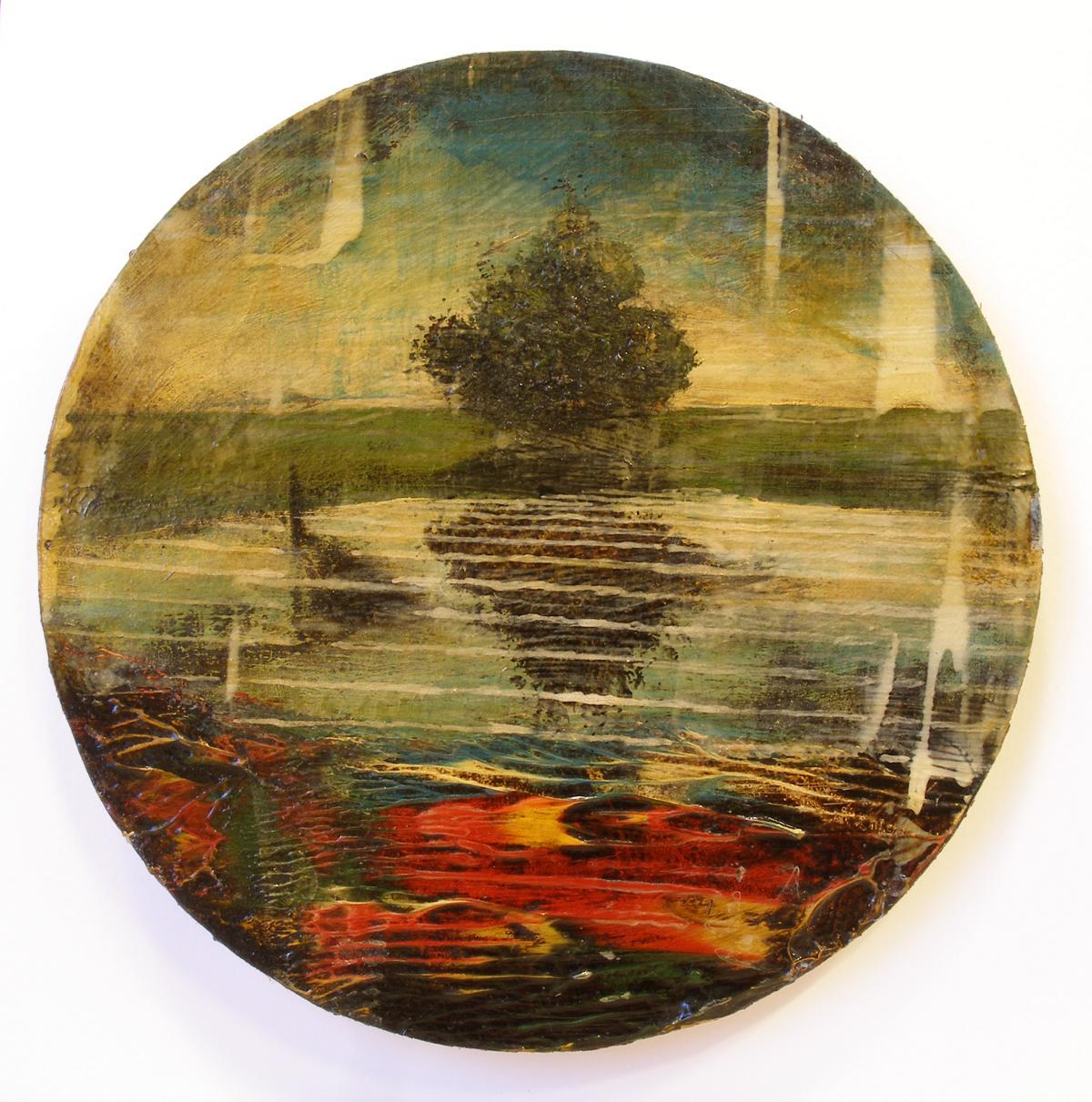 Jernej Forbici, auri sacra fames IX, diametro 20 cm, 2017, acrilico e olio su carta