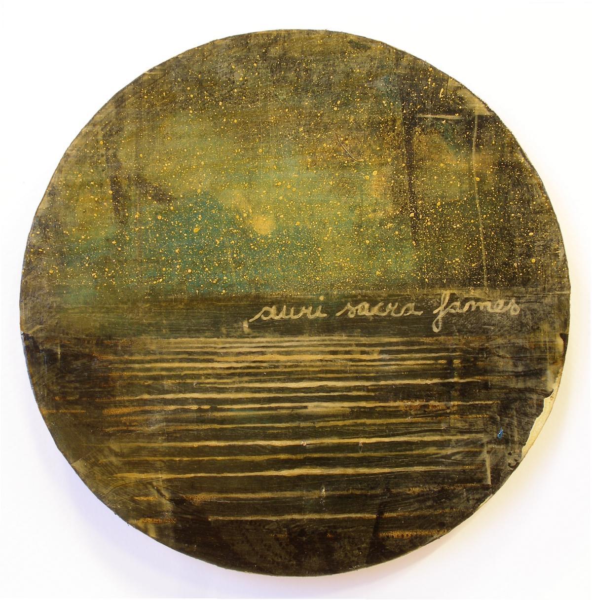Jernej Forbici, Auri sacra fames VI, diametro 20 cm, 2017. acrilico e olio su carta