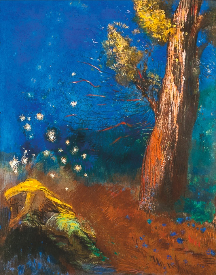 Odilon Redon, La mort de Bouddha, 1899 circa, pastello su carta, Millicent Rogers, Collection © Millicent, Rogers Collection/Foto: Davis A. Gaffga