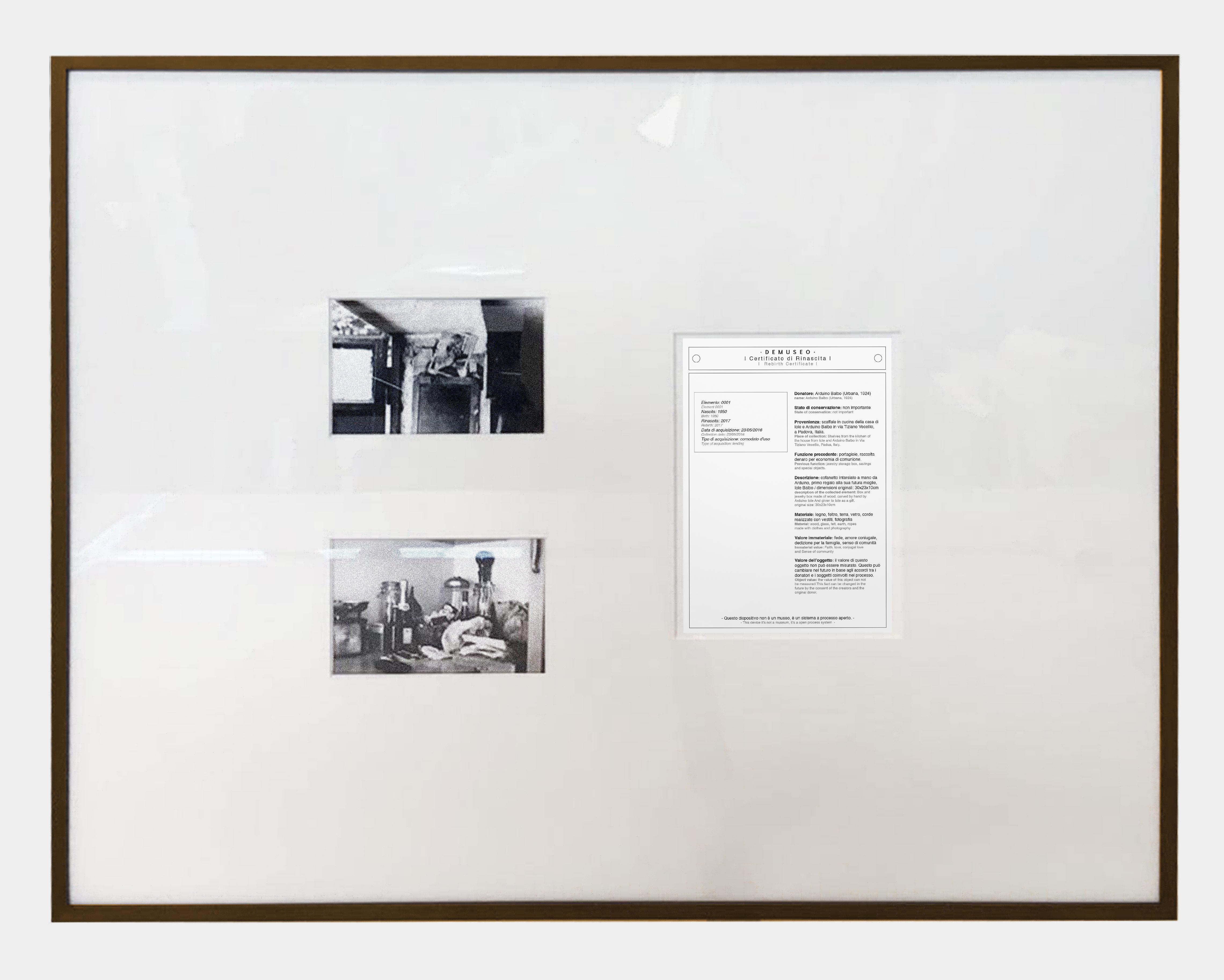 Victor Leguy (fotografie di Marco Maria Zanin) Rinascita #01 (dettaglio) Legno, tessuto, terra, vetro, oggetto, stampe