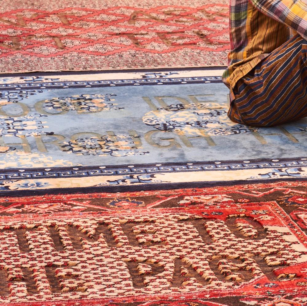 Loredana Longo 2017, Carpet, bruciature su tappeto, courtesy Francesco Pantaleone, Milano