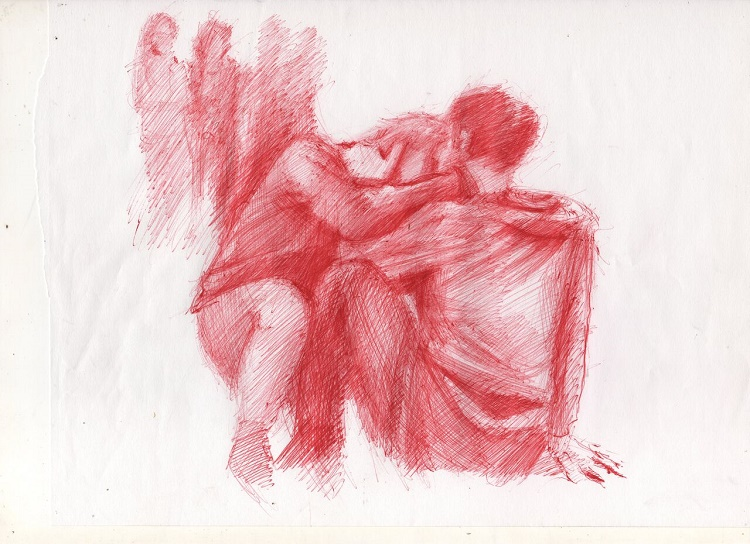 Disegno di Diego Perrone ispirato all'opera Kiss di Tino Sehgal