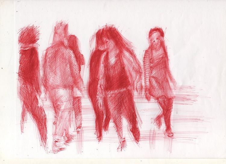 Disegno di Diego Perrone ispirato all'opera di Tino Sehgal