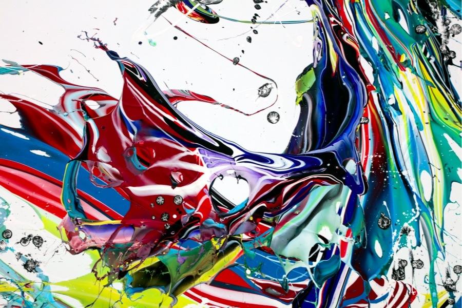 Katrin Fridriks, Mothernature's Awakening, 2017, acrilico su tela, 150x150+5 cm Courtesy Dellupi Arte, Milano (particolare)