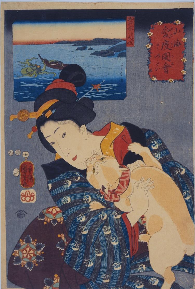 Utagawa Kuniyoshi, L'universo femminile - Teppozu, Serie: Luoghi famosi di Edo (Tōto meisho), 1852, silografia policroma (nishikie), 37.8x25.6 cm, Masao Takashima Collection