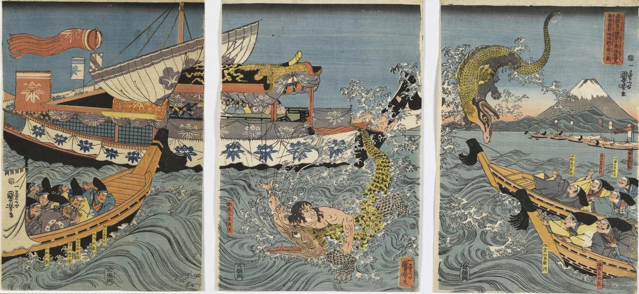 Utagawa Kuniyoshi, Asahina Yoshihide combatte con due coccodrilli nel mare nei pressi di Kamakura Kotsubo osservato da Minamoto Yoriie (Minamoto no Yoriie kō Kamakura kotsubo no umi yūran Asahina Yoshihide shiyū no wani o torau zu), 1843, silografia policroma (nishikie), 39x79.5 cm, Masao Takashima Collection