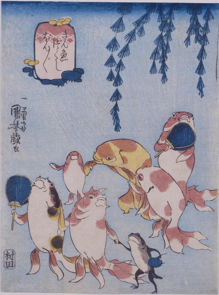 "Utagawa Kuniyoshi, Composizione di pesci rossi che cantano""bonbon"" (Kingyo zukushi bonbon), circa 1842, silografia policroma (nishikie), 23.2x17.3 cm, Masao Takashima Collection"